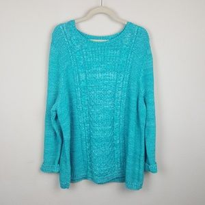 Talbots Cable Knit Teal Plus Size Sweater